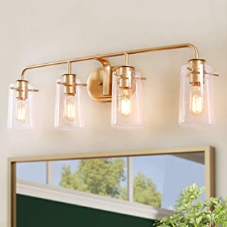 KSANA Vanity Light, 4-Light Modern Bathroom Lighting in Gold Metal Finish with Clear Bubbled Glass Shades, 31