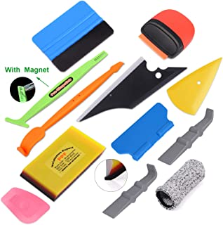Gomake Car Vehicle Vinyl Wraps Tool Kit Felt Micro Mini Squeegee Finger Gloves Plastic Scraper Water Wiper for Car Wrapping