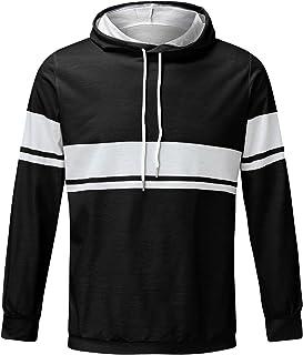 Dasongff - Sudadera con capucha para hombre, clásica, patchwork, informal, con bolsillos de canguro, básica, de manga larg...