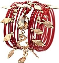 Leather Wrap Bracelet Turn into Necklace, Red with Swarovski Crystal 24 Karat Gold Plated Handmade by SEA-Smadar