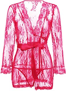 Women's ce Kimono Robe Sheer Babydoll Lingerie Mesh Nightgown See Through ce Chemise with G-String and Belt