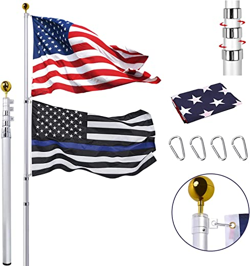 Panta 30FT Telescopic Flag Pole Kit, Extra Thick Heavy Duty Aluminum Telescoping Flagpole Fly 2 Flags, Outdoor Inground Large Flag Poles with 3x5 USA Flag for Residential, Yard or Commercial, Black