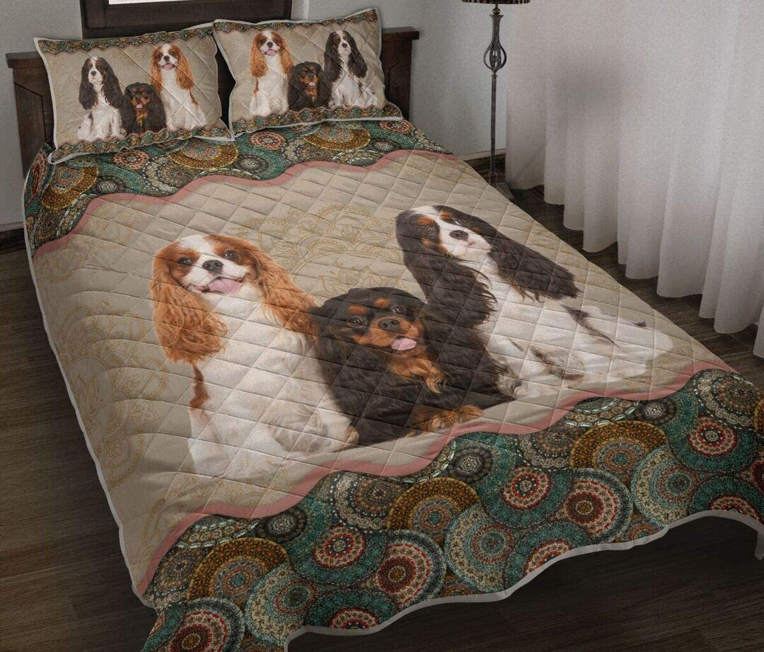 Personalized Cavalier King Charles Vintage Mandala Quilt Max Jacksonville Mall 88% OFF Spaniel