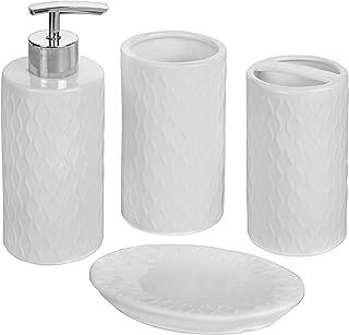 MyGift 4-Piece Vintage White Textured Bathroom Accessory Set
