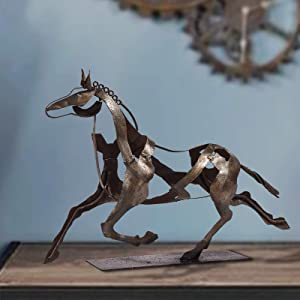 SunBlogs Art Metal Horse Statue Decor 100% Handmade Modern Horse Sculpture Handicraft, Rustic Metal Statue Decorations Gift for Home Bookshelf Fireplace Office Desk Decor(Style 2)