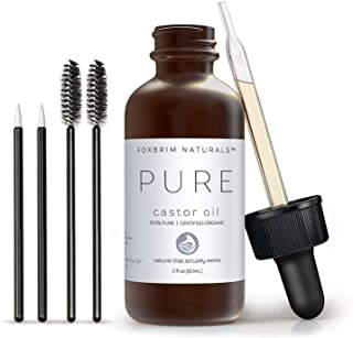 Organic Castor Oil - 2oz - 100% Pure - Cold Pressed - USDA Certified - Hexane Free - For Hair, Skin, Eyelashes, Eyebrows &...