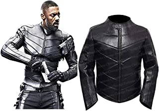 Mens Fast 2019 Hobbs and Shaw Idris Elba Costume Engraved Motor Bike Black Leather Jacket