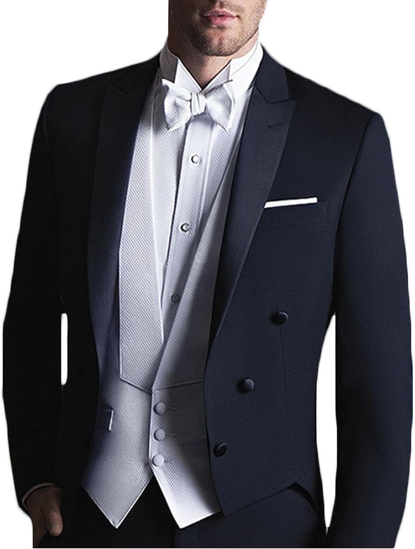 Newdeve Men's Wedding Suit 3 Pieces Pants Sets Slim Fit