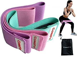 CoreFit Resistance Fitness Bands| Perfect workout for Legs Arms Butt Hips Glutes Booty - Comfortable Elastic Non Slip Fabric band for both Men and Women – Ultimate exercise strength training loop bands for stretching yoga pilates & gym – Set of 3 Premium Circle Bands