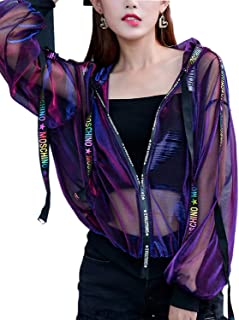 Seevy Hologram Iridescent Transparent Mesh Sun Protection Jacket