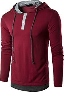 QPNGRP Mens Long Sleeve Hooded T-Shirt Slim Fit Hoodie Shirt