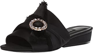 Nine West Women's LAFAY Slide Sandal, Black Satin, 7