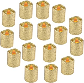 """YEHTEH Gold Glitter Flameless LED Votive Candles, D1.5XH1.6"""" Battery Operated Support 100 + Hours, Pack of 16, Realistic Flickering Warm Yellow Flame, Unscented tealight Candles, Wavy Edge."""