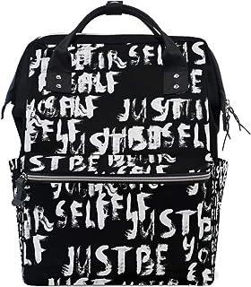 Laptop Backpack, Black White Crayon Letters Diaper Bag Backpack Travel Backpack for Women and Men