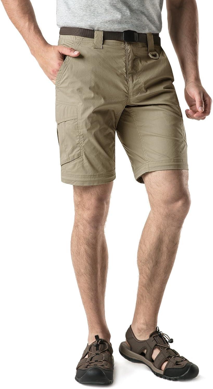 CQR Mens Convertible Cargo Pants Work Outdoor Pants Zip Off Lightweight Stretch UPF 50 Water Repellent Hiking Pants