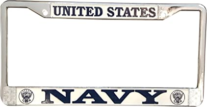 US Navy License Plate Frame - Military Frame Made in The USA - Blue on White