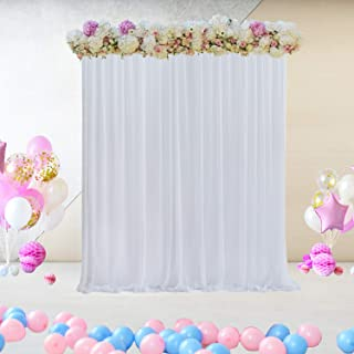 White Tulle Backdrop Curtain for Parties Baby Shower Wedding Birthday Christmas Background Decorations 5 ft X 7 ft