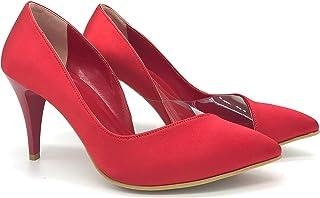 Binbon - Kırmızı Şeffaf Saten Kadın Topuklu Ayakkabı