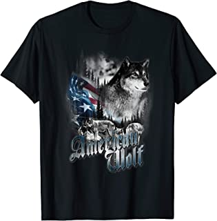 American Wolf Flag 4th of July Distress USA Patriotic T-Shirt