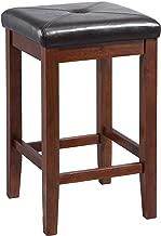 Crosley Furniture Upholstered Square Seat Bar Stool (Set of 2), 24-inch, Vintage Mahogany