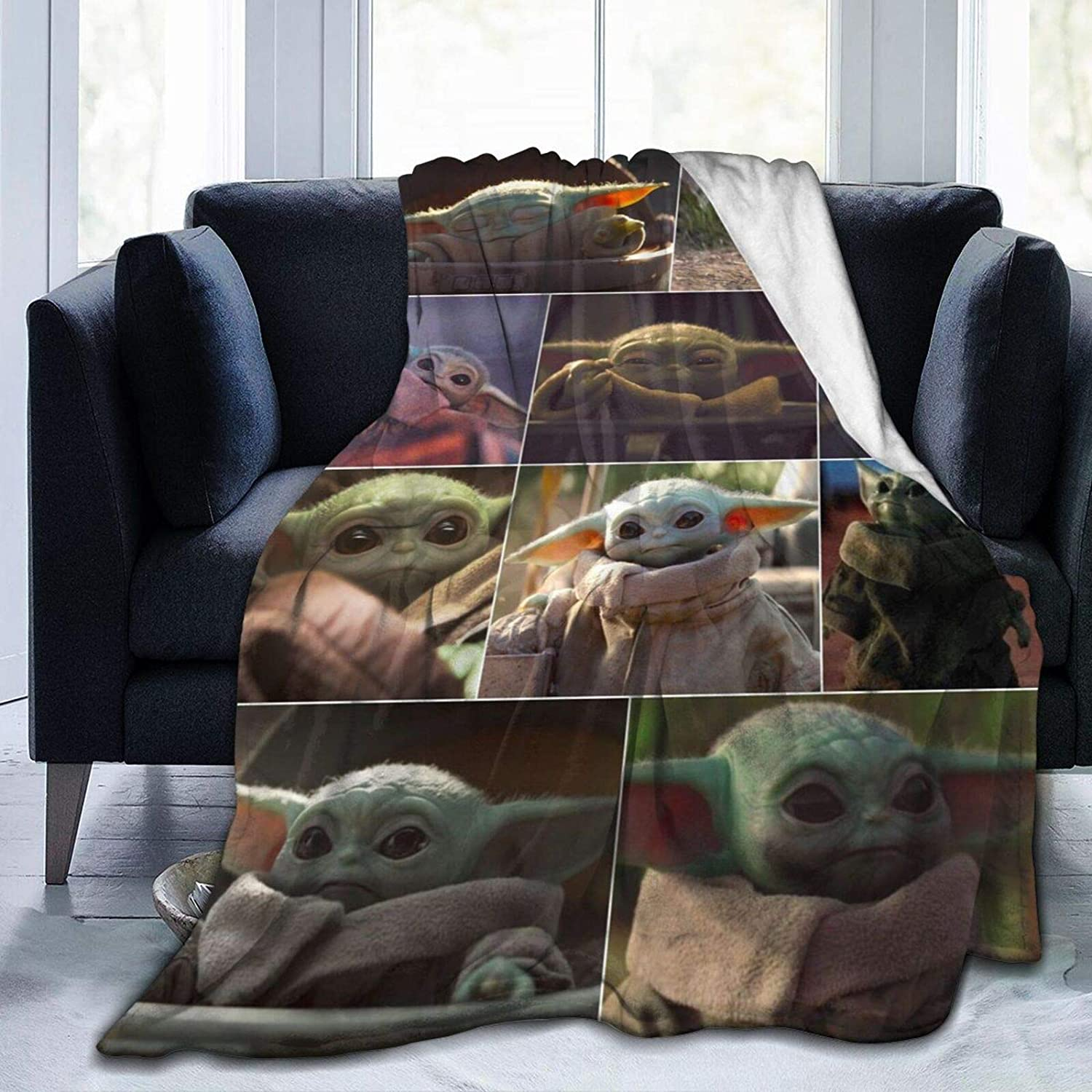 Baby Yoda Blanket All Season Super Soft Cozy Bed Sofa Blanket Air Conditioner Quilt for Kids Teenager Adults