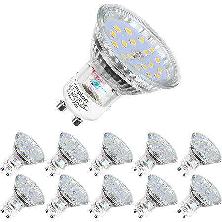 Ampoules LED GU10, 5W équivalent 60W, 600lm, Blanc Froid 6000K, 120° Larges Faisceaux, Ampoules LED Spot, Lot de 10