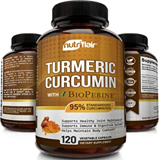 NutriFlair Premium Turmeric Curcumin Supplement (1300mg) with BioPerine Black Pepper (120 Capsules, 60 Day Supply) - Power...