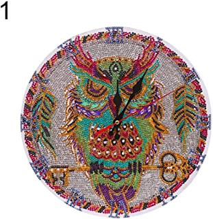Bullker 11.8 X 11.8 Inch DIY 5D Diamond Painting Kits for Adults Owl Horse Russian Doll Clock Drill Embroidery Paintings Rhinestone for Home Wall Decor - 1#