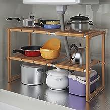 Chen Estantería de lavabo de cocina Estante de almacenamiento ajustable de doble capa y multifunción ( Color : Marrón )