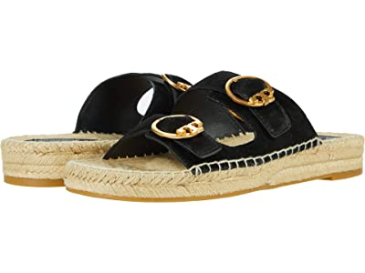 Tory Burch Selby Two-Band Espadrille Slide (Perfect Black 1) Women
