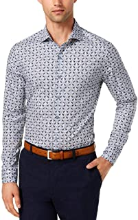 Tasso Elba Mens Cotton Printed Button-Down Shirt