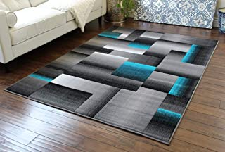 Masada Rugs, Modern Contemporary Area Rug, Turquoise Grey Black (5 Feet X 7 Feet)
