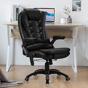 Ergonomic Massage Office Chair-High Back PU Leather Heating Vibration Massage Executive Chair, Height Adjustable Reclining Swivel Computer Desk Chair Lumbar Support Armrest, Black