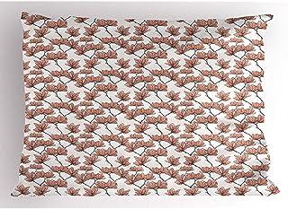 4 Piezas 18X18 Pulgadas Funda De Almohada Floral,Flores De Magnolia En Las Ramas Ilustraciones Inspiradas En Japón,Decoración Para El Hogar Funda De Almohada Impresa Tamaño King Estándar