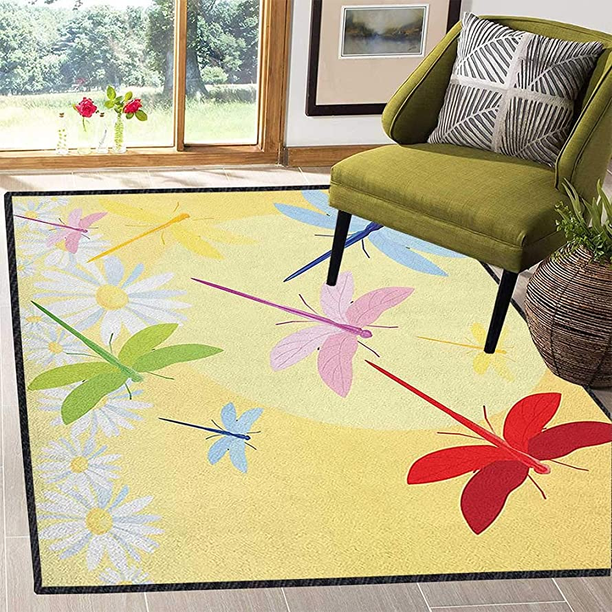 Dragonfly Anti-Skid Area Rug,Flower Field in Spring Season with Chamomiles and Sun Figure on The Back Graphic Reusable and Easy to Clean Multicolor 67