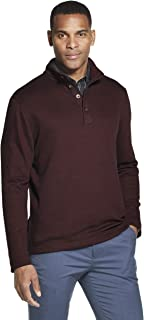 Men's Long Sleeve Never Tuck Jaspe Button Mock Pullover