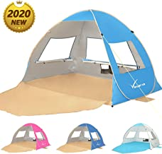Large Pop Up Beach Tent Beach Umbrella Automatic Sun Shelter Cabana Easy Set Up Light Weight Beach Canopy 3-4 Person Anti-UV Portable Sunshade Beach Shade