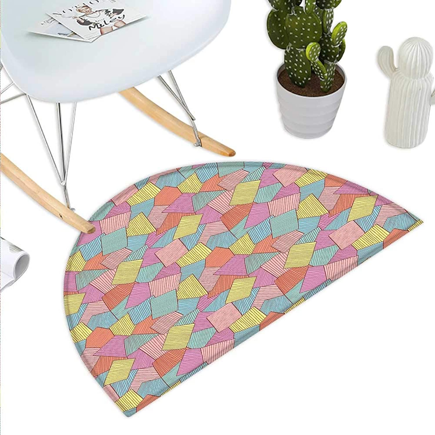 Geometric Semicircle Doormat Abstract Tile Pattern with Thin Stripes colorful Vintage Square Shapes Design Halfmoon doormats H 43.3  xD 64.9  Multicolor