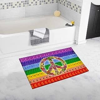 INTERESTPRINT Peace Floral Symbol on Rainbow Islamic Flag Bedroom Living Room Bath Mat Non Slip 32 L X 20 W Inches