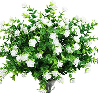 YOSICHY Artificial Flowers, Fake Outdoor UV Resistant Plants Faux Plastic Greenery Shrubs for Outside Hanging Planter Home Kitchen Office Wedding Garden Decor(White)