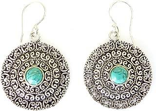 Oxidized silver fashion drop dangle handmade unique filigree designer ethnic turquoise gemstone earrings for women by Artisan