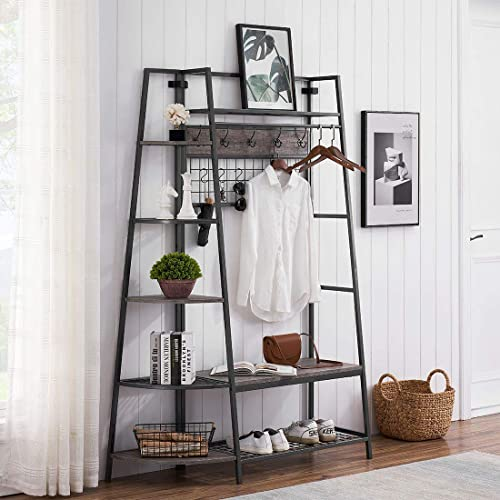 2021 O&K online FURNITURE Entryway Hall Tree with online sale Storage Shelves and Bench, Industrial Shoe Rack Bench with 10 Coat Hooks and Hanging Bar, Gray online