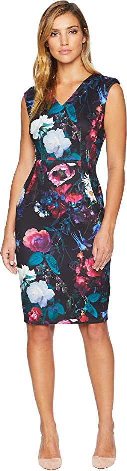 V-Neck Floral Print Sheath CD8ME8AV