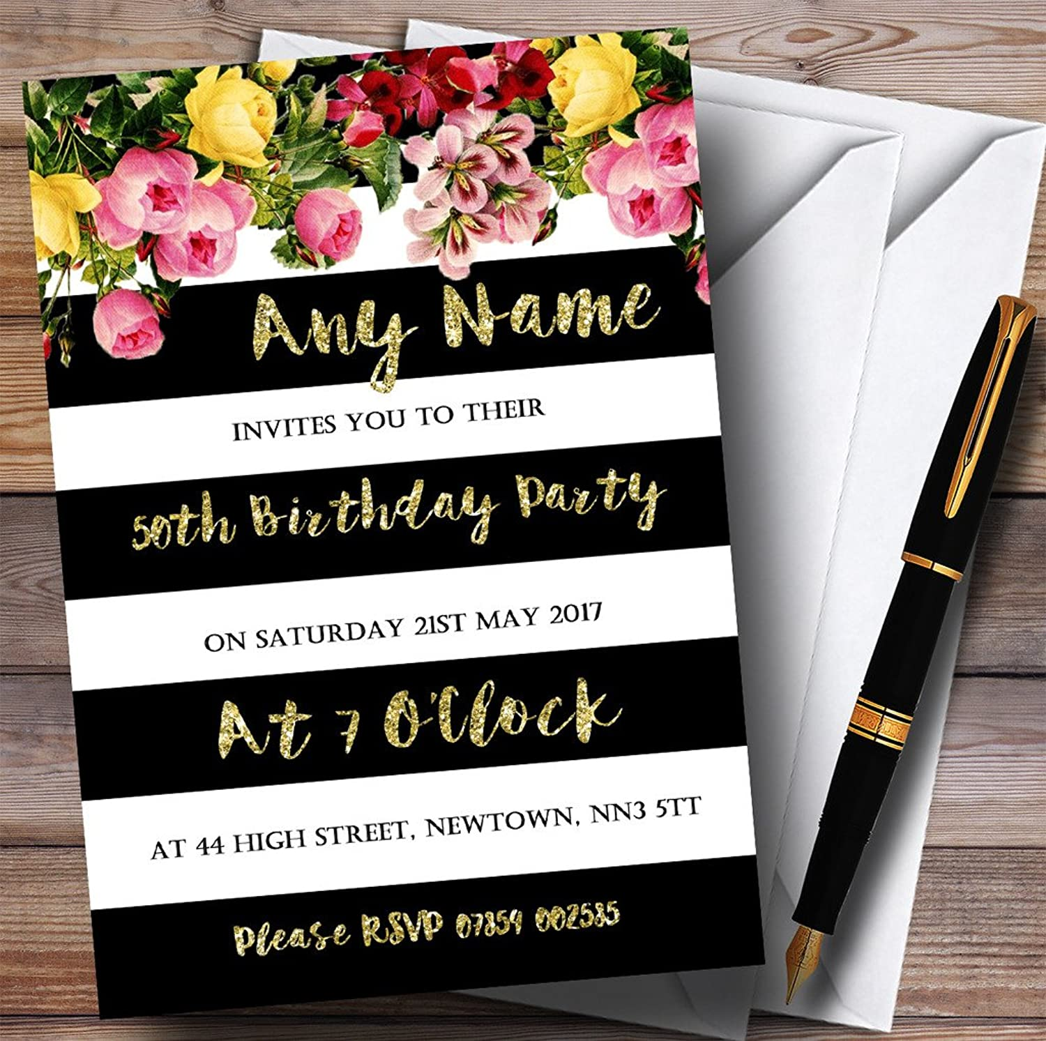 Pink Floral Black White gold 50th Personalised Birthday Party Invitations
