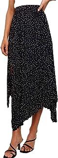 Sponsored Ad - Bdcoco Womens Boho Polka Dot Pleated Skirt Casual High Waist Side Slit A-Line Skirt