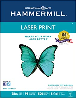 Hammermill 125534 Laser Print Office Paper, 98 Brightness, 28lb, 8-1/2 x 11, White, 500 Shts/Ream