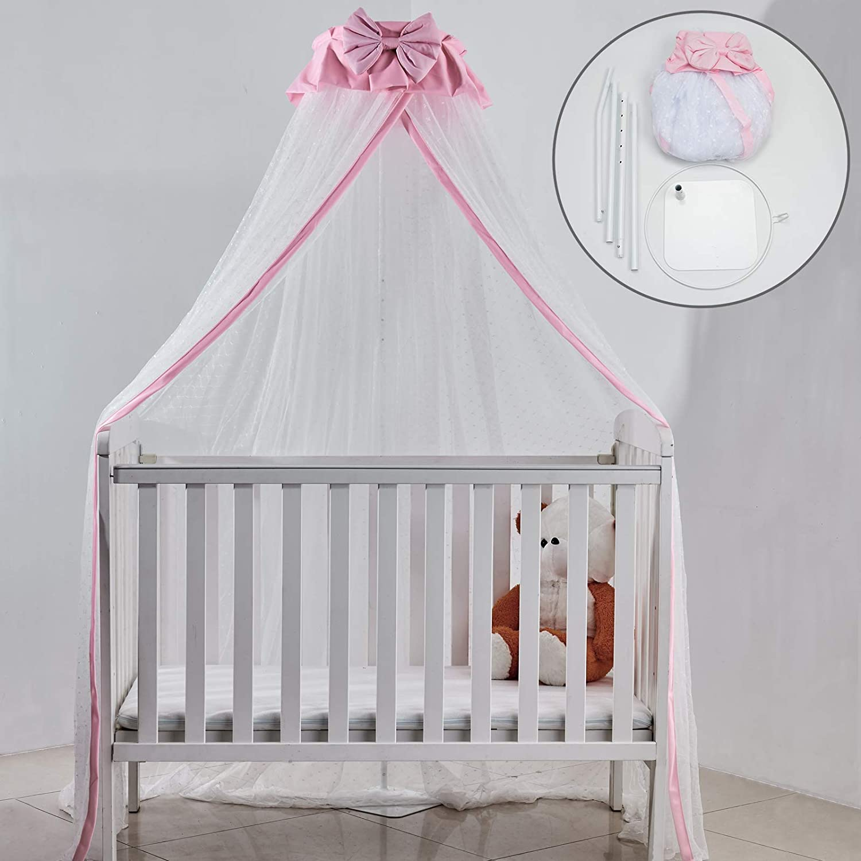 Crib Very popular Net Set- Baby San Antonio Mall Bed Dome Netting Canopy Adju Metal with Cover