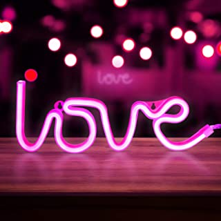 Neon Pink Love Signs, LED Neon Signs for Wall Decor, Led Safety Art Wall Decoration Lights Neon Lights Night Table Lamp with Battery Powered/USB for Baby Room, Home, Wedding, Kids Gift