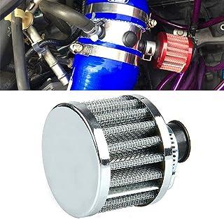 エアクリーナー 汎用 吸気効率UP 12mm口径 エアフィルター エンジンパワーアップ ターボ 集塵 コンパクト ブローオフバルブ ターボ用 アインテークパイプ セット 自動車用 ターボ車兼用 スポーツフィルター メッシュ (12mm シルバー)