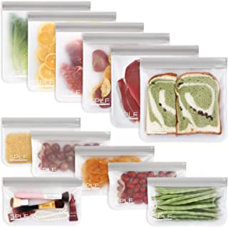 SPLF 12 Pack FDA Grade Reusable Storage Bags (6 Reusable Sandwich Bags, 6 Reusable Snack Bags), Extra Thick Leakproof Sili...